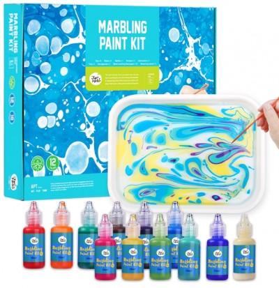 Νερομπογιές σετ 12 χρωμ. Marbling Paint JarMelo